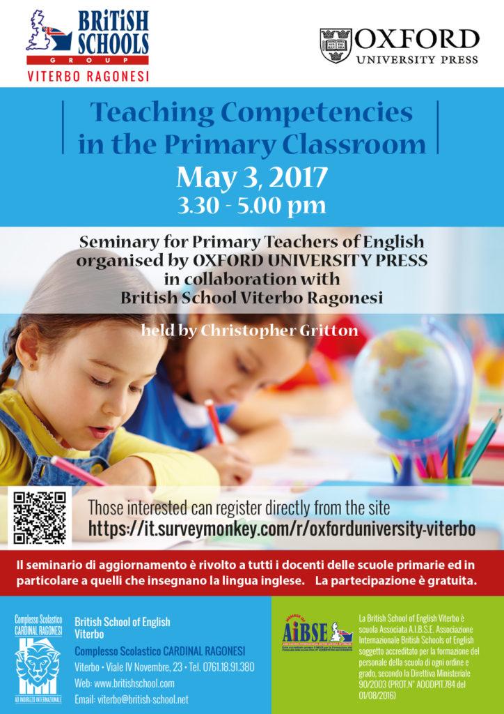 Seminary Oxford Press 3 may 2017 724x1024 - 3 maggio. Seminario Oxford University Press. Teaching Competencies in the Primary Classroom