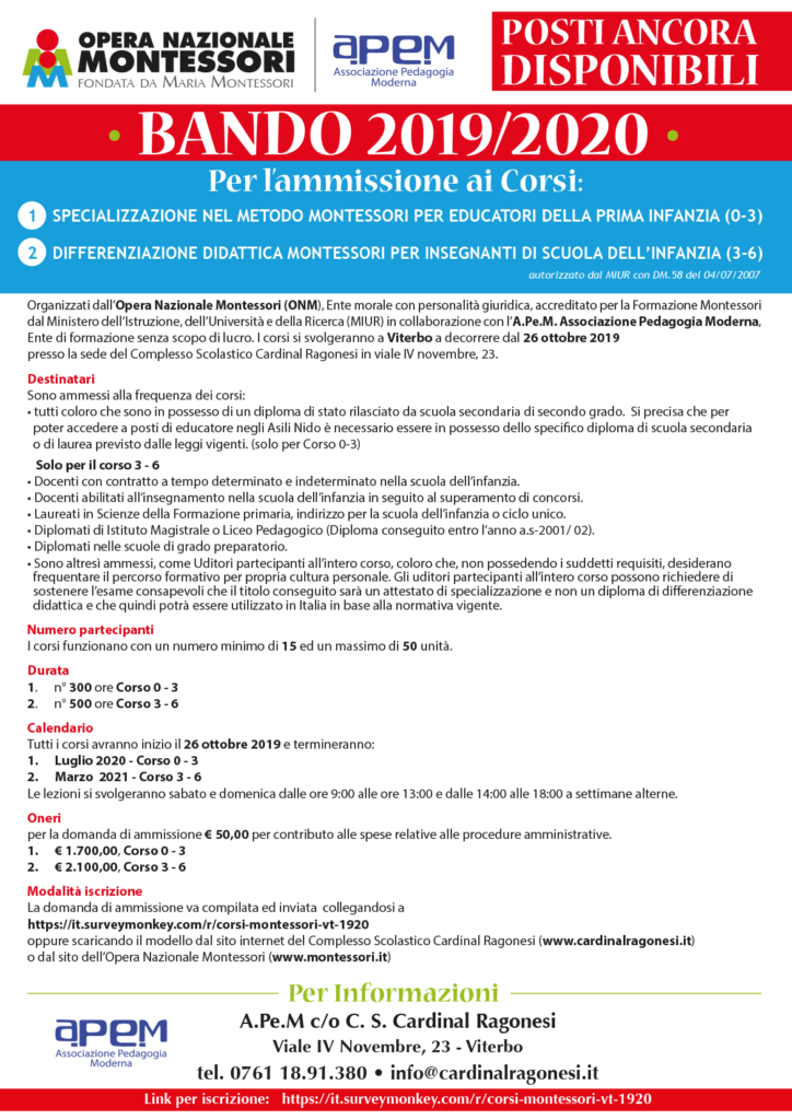 APEM BANDO 1920 Corsi Montessori Viterbo DISPONIBILI 724x1024 - BANDO Corsi Montessori 2019/2020 - POSTI ANCORA  DISPONIBILI