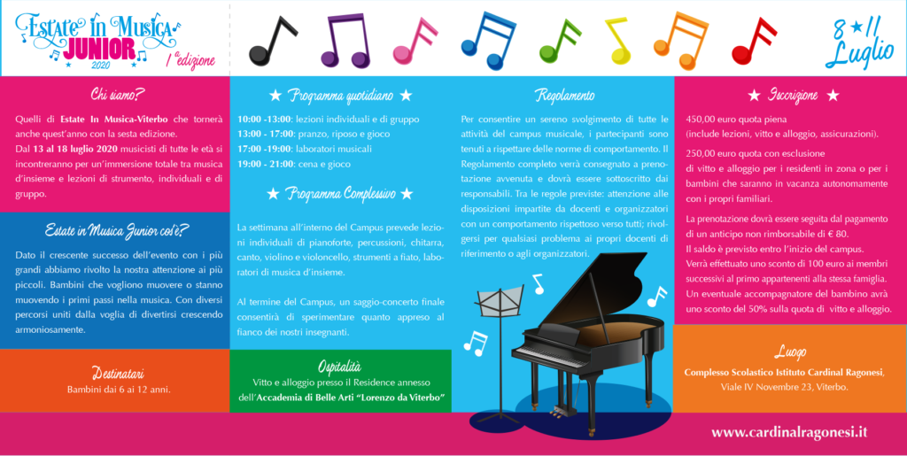 2020 Estate in Musica JUNIOR RAGONESI interno 1024x515 - 8-11 luglio 2020- Estate in Musica Viterbo JUNIOR 1a edizione