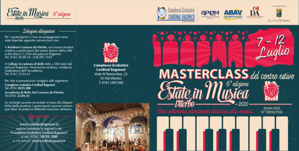 MASTERCLASS 2020 Estate in Musica pieghevole RAGONESI esterno 1024x520 - Estate in Musica 6a edizione - MASTERCLASS del Centro Estivo 2020