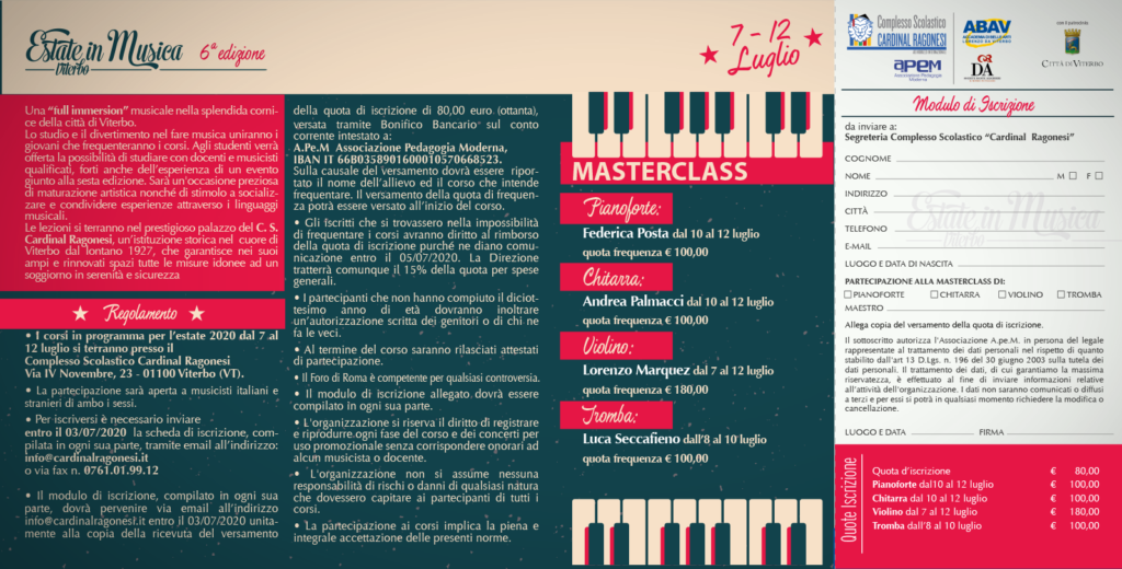 MASTERCLASS 2020 Estate in Musica pieghevole RAGONESI interno 1024x520 - Estate in Musica 6a edizione - MASTERCLASS del Centro Estivo 2020