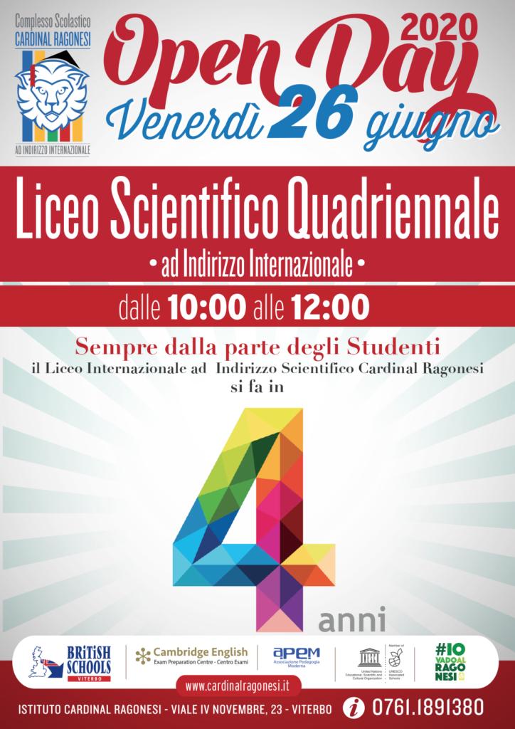 OK locandina OPENDAY 26giugno RAGONESI LICEOSCIENTIFICO 2020 724x1024 - OPENDAY - Venerdì 26 giugno - Liceo Scientifico
