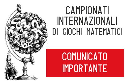 RINVIO GIOCHI MATEMATICI - COMUNICATO CAMPIONATI MATEMATICA